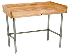 Maple Top Work Table With Stainless Steel Base contemporary kitchen islands and kitchen carts