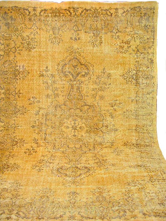 Gold Overdyed Vintage Turkish Carpet - Multi-toned golds, overdyed with underlying pattern surfacing here and there, to revive well-loved vintage Turkish carpets into a truly fabulous area rug.