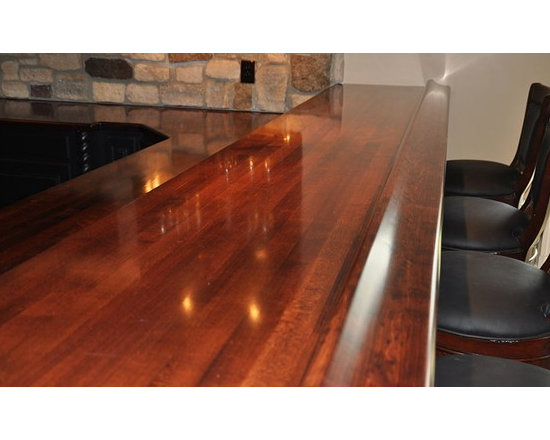 Maple Wood Bar Top with Chicago Bar Rail. Designed by Karen A. Trinchere of A De -