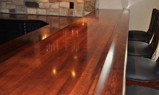 Maple Wood Bar Top With Chicago Bar Rail Designed By