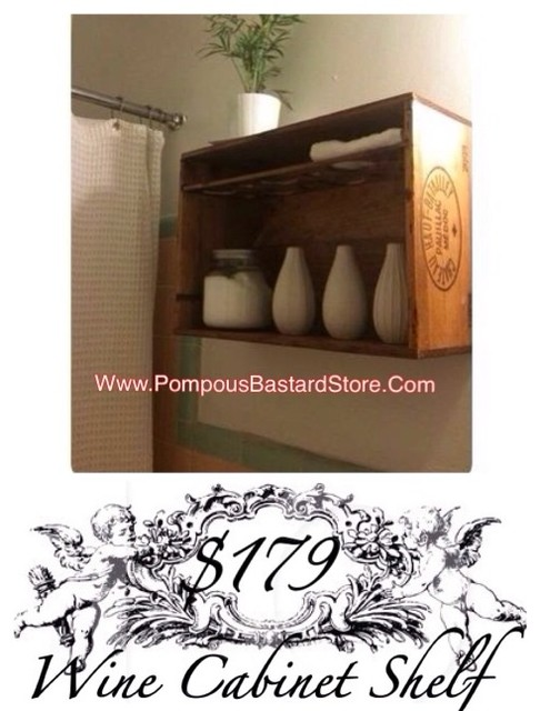 Vintage French Wine Cabinet Shelf By OpuluxeLtd.™ rustic-bathroom ...