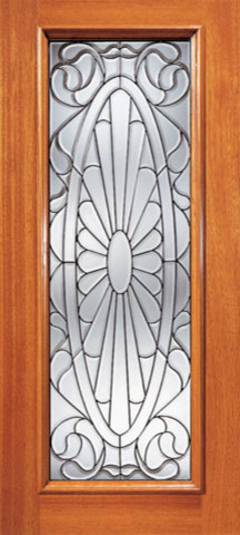 Contemporary Oval Design Beveled Glass Front Single Door, Full Lite traditional-front-doors