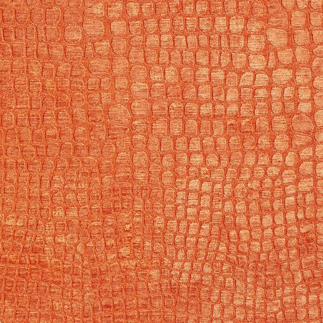 Bright Orange Alligator Print Shiny Woven Velvet ...