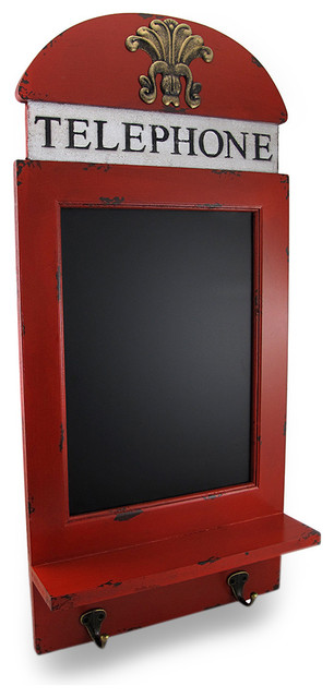 Red Telephone Booth Style Chalkboard Decorative Wall ...