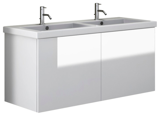 47 Inch Vanity Cabinet With Double Ceramic Sink, Glossy White contemporary-bathroom-vanities-and-sink-consoles