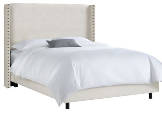 Custom Alistair Upholstered Bed King Talc Linen Traditional Panel Beds By Home