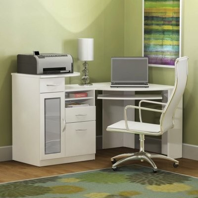 Bush Vantage White Corner Computer Desk HM66115A 03 Contemporary Desks