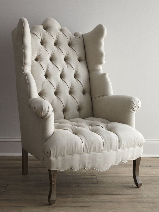 Haute House Elizabeth Chair - For the head of the table, we chose a sublime silhouette covered in linen with self buttons and sleek cabriole legs.
