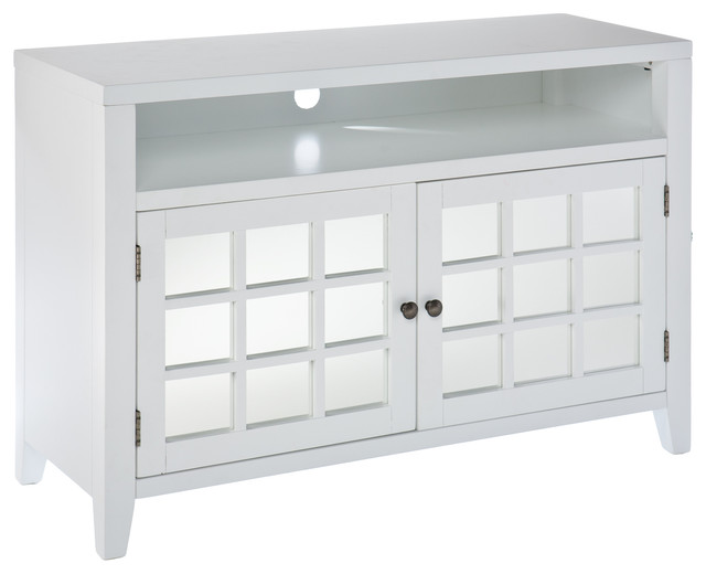 Carter Mirrored Tv Media Stand White Contemporary