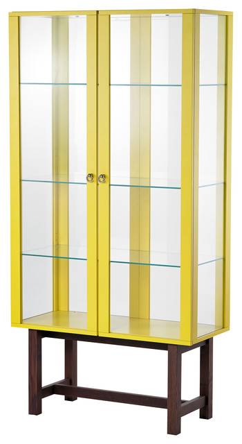 Stockholm Glass Door Cabinet, Yellow - contemporary - storage ...