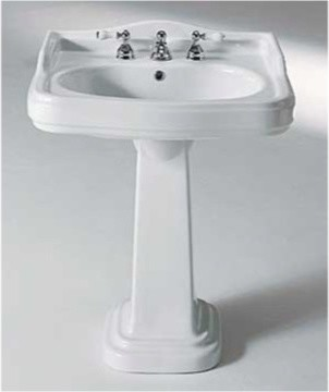 Rectangular Ceramic Pedestal Sink By GSI Traditional Bathroom Sinks