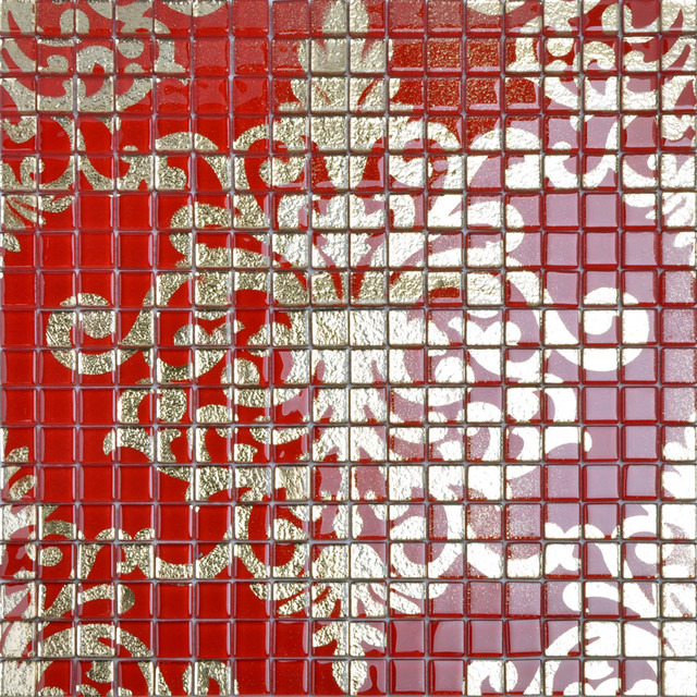 Red Mosaic Wall Decor : Crystal glass tile red puzzle mosaic