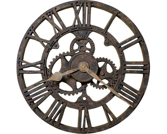 Rustic Wall Clocks - The character of a rusted, antique timepiece is evident in this 21 molded polyresin wall clock. - Aged hour and minute hands add to the appeal of the authentic look. - Quartz, battery operated movement. Quartz, Battery-operated Movement