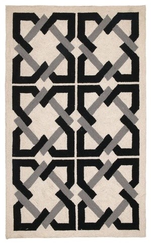 Geometric Tile H Rug Black Grey Contemporary Rugs