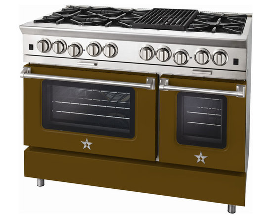 "BlueStar Platinum Series: 48"" Range - 48"" BlueStar Platinum Range in Olive Brown (RAL 8008)"
