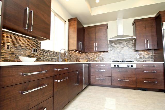 fascinating modern walnut kitchen cabinets | Walnut