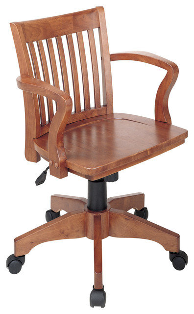 Office Star Deluxe Wood Banker's Chair with Wood Seat in Espresso Wood Finish traditional-home-office-products