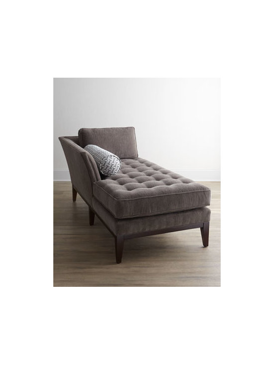 "Vanguard - Vanguard ""Chandelle"" Chaise - Exclusively ours. Sleek, contemporary, and yet a bit retro, this elegant chaise invites you to while away an afternoon relaxing with a good book or magazine. Tufting adds to its charm. Oak frame. Rayon/cotton upholstery. 38""W x 73""D x 34""T. Handcr..."