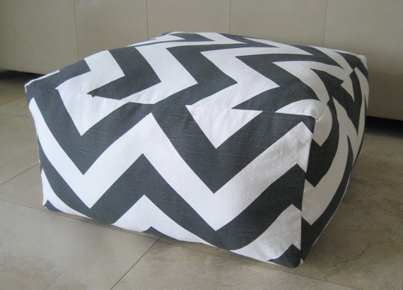 Large Pouf Floor Pillow, Charcoal/White by Aletafae contemporary ottomans and cubes