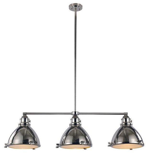 Island 3-Light Pendant, Polished Nickel