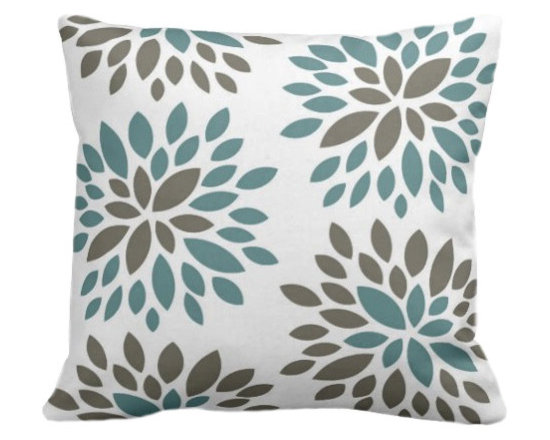 PURE Inspired Design - Dahlia Organic Pillow Cover, Light Teal/Khaki/Natural, 18 X 12 - Collection:  PURE Beach
