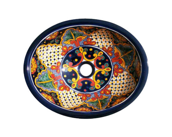 Casa Daya - Made to Order Talavera Hand Painted Mediterranean Style Sink - The styles are influenced by the beautiful Spanish architecture in the Guanajauto state of Mexico from the time the Spanish inhabited the area starting in the 1520's.