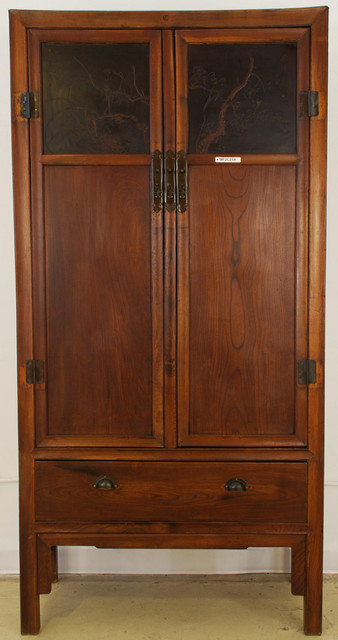 Chinese Tall Armoire with Beautiful Carved Panels asian-armoires-and-wardrobes
