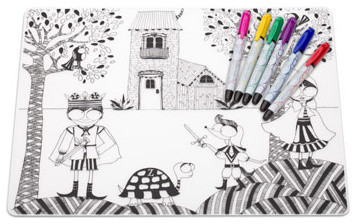 Hide & Seek Placemat + 6 Markers contemporary-placemats