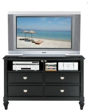 Belmar Black Media Chest Bottom - Traditional - Entertainment Centers And Tv Stands - other ...