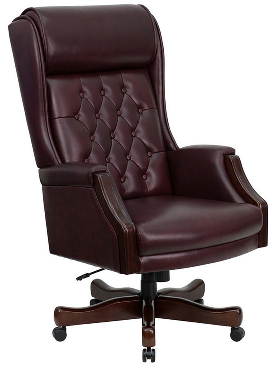 High Back Traditional Tufted Burgundy Leather Executive Office Chair - Front - Photo by Flash Furniture, chair available @ http://www.dynamichomedecor.com/FF-KC-C696TG-GG.html