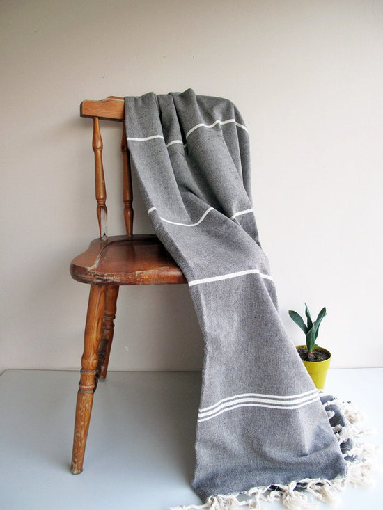 Black Natural Handwoven Blanket by Loovee -