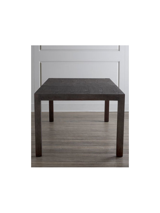 Horchow - Karington Espresso Dining Table with Two Leaves - Imagine the possibilities—a Parson's style dining table that mixes and matches with other pieces for classic dining. Elegant enough for formal gatherings and durable enough for every day. Two leaves add to its versatility. Handcrafted of ash solid...