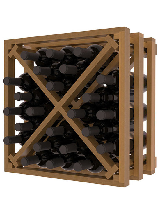 Lattice Stacking X Wine Cube in Redwood with Oak Stain + Satin Finish - Designed to stack one on top of the other for space-saving wine storage our stacking cubes are ideal for an expanding collection. Use as a stand alone rack in your kitchen or living space or pair with the 16-Bottle Cubicle Wine Rack and/or the Stemware Rack Cube for flexible storage.