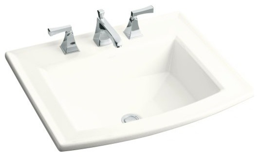 KOHLER Archer Self-Rimming Drop-In Bathroom Sink with Single Faucet Hole contemporary-bathroom-sinks