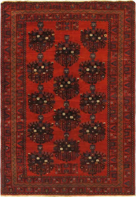 """Hand-knotted Royal Balouch Dark Red Wool Rug 6'9"""" x 9'10"""" traditional-rugs"""