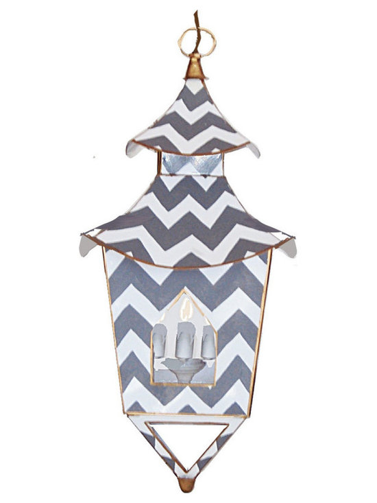 Gray Bargello Lantern -