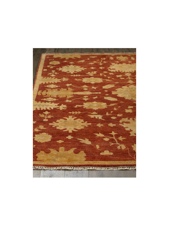 "Horchow - ""Elle"" Rug - Rich color and a traditional pattern combine to make this rug a sophisticated choice for any room. Hand knotted of wool/cotton blend. Cotton backing applied with latex. Sizes are approximate. Imported. See our Rug Guide for tips on how to measu..."