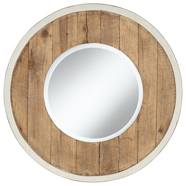 Distressed white and natural wood 30 round wall mirror for White round wall mirror