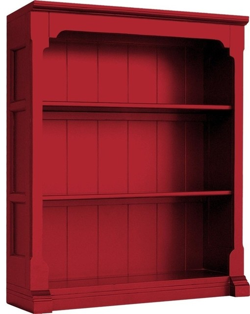 Painted Hardwood Open Bookcase, Red - Traditional - Bookcases - by EuroLuxHome