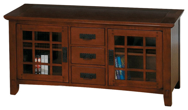 Viejo Mission Style LCD TV Stand in Brown & Oak Finishes w Drawers - Craftsman - Media Storage ...