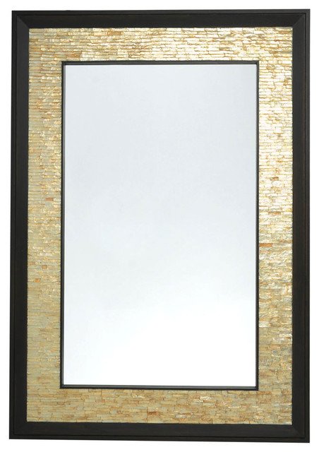 Rectangular Capiz Seashell Framed Wall Mirror - Contemporary - Mirrors - other metro - by KOUBOO