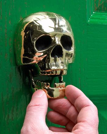 Polished Brass Skull Door Knocker eclectic-door-knockers