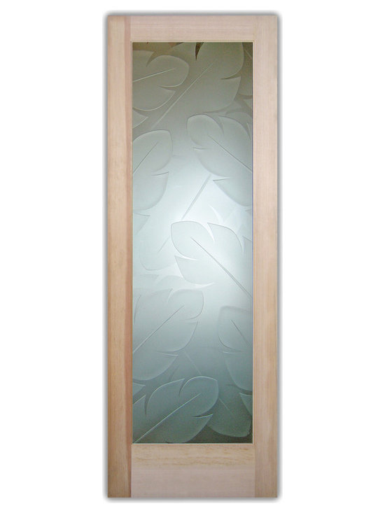 """Sans Soucie Art Glass (door frame material T.M. Cobb) - Interior Glass Door Sans Soucie Art Glass Banana Leaves 3D Private - Sans Soucie Art Glass Interior Door with Sandblast Etched Glass Design. GET THE PRIVACY YOU NEED WITHOUT BLOCKING LIGHT, thru beautiful works of etched glass art by Sans Soucie!  THIS GLASS PROVIDES 100% OBSCURITY.  (Photo is View from OUTside the room.)  Door material will be unfinished, ready for paint or stain.  Satin Nickel Hinges. Available in other wood species, hinge finishes and sizes!  As book door or prehung, or even glass only!  3/8"""" thick Tempered Safety Glass.  Cleaning is the same as regular clear glass. Use glass cleaner and a soft cloth."""