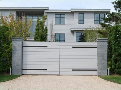 Cellular vinyl contemporary gate modern outdoor for Modern house gate