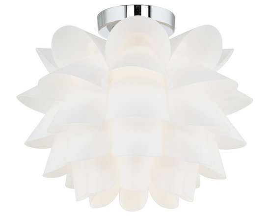 """Possini Euro Design - Possini Euro Design White Flower 15 3/4"""" Wide Ceiling Light - This many-petaled orb will provide your room with a modern organic look. The light is diffused through the specially positioned curved panels of plastic. This architectural form is mounted attractively with a chrome finish circular ceiling canopy. From the Possini Euro Design collection. White finish. Plastic construction. Chrome finish hardware. Takes one 60 watt bulb (not included). 15 3/4"""" wide. 12"""" high. 5"""" wide canopy.  White finish.   Plastic construction.   Chrome finish hardware.   Takes one 60 watt bulb (not included).   15 3/4"""" wide.   12"""" high.   5"""" wide canopy."""