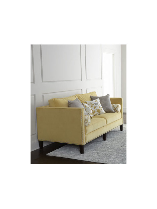 """Massoud - Massoud """"Eureka"""" Sofa - We love the mix of solid upholstery with patterned throw pillows in on-trend hues of gray and gold that this sofa offers. Plump loose back cushions and a suspended coil-spring system insure that it's comfortable as well. Frame made of furniture-grade h..."""