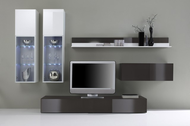 Modern Wall Unit TV Media Entertainment Center Jetset-303 Gray ...