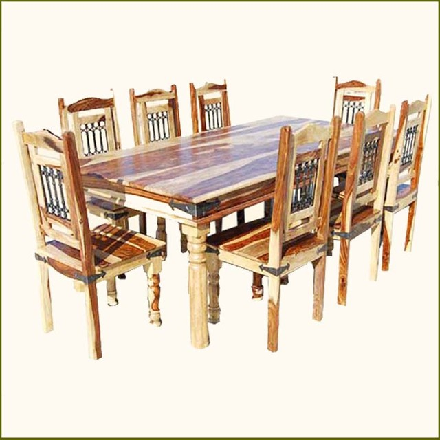 Elegant rustic solid wood dining table chairs set for 8 for Traditional dining table for 8