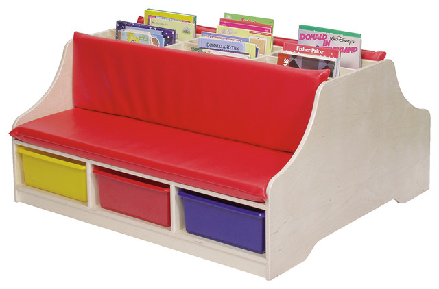 Steffywood Double Sided Kids Reading Book Storage Bench With Casters Contemporary Indoor