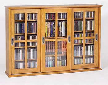 Triple Sliding Door Media Wall Cabinet - Contemporary - Media Storage - by Improvements Catalog